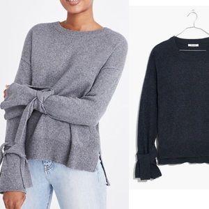 BOGO! Madewell Tie Cuff Cotton Crewneck Sweater Blue